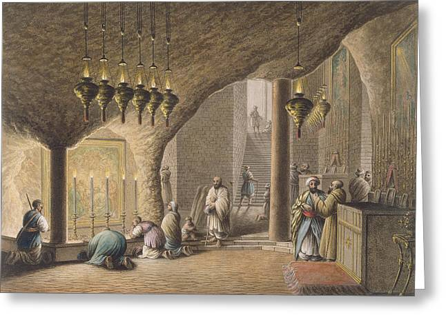 Candle Lit Greeting Cards -  The Grotto of the Nativity in Bethlehem Greeting Card by Luigi Mayer