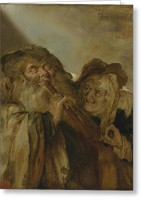 Hurdy-gurdy Greeting Cards -  The Hague A Blind Man Playing A Flute Greeting Card by Celestial Images