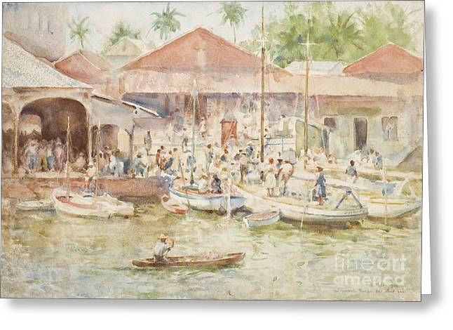 Fish Market Greeting Cards -  The Market Belize British Honduras Greeting Card by Henry Scott Tuke
