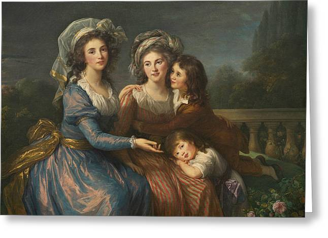 The Marquise De Pezay, And The Marquise De Rouge With Her Sons Greeting Card by Louise Elisabeth Vigee Le Brun