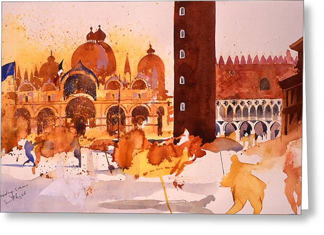 St. Mark Greeting Cards -  The Meeting   San Marco Greeting Card by Simon Fletcher