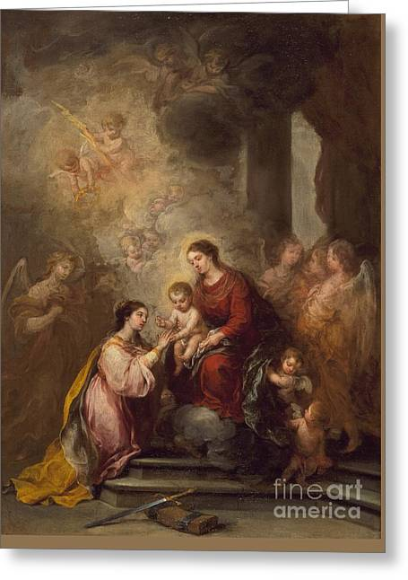 Bartolome Esteban Murillo Greeting Cards -  The Mystic Marriage of Saint Catherine Greeting Card by Bartolome Esteban Murillo