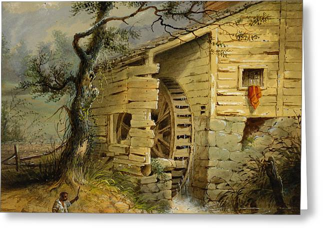 Chinook Paintings Greeting Cards -  The Old Mill Greeting Card by Alfred Jacob Miller