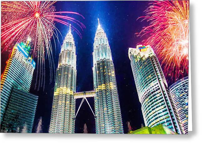 Light Greeting Cards -  The Petronas Twin Towers  Greeting Card by Lanjee Chee