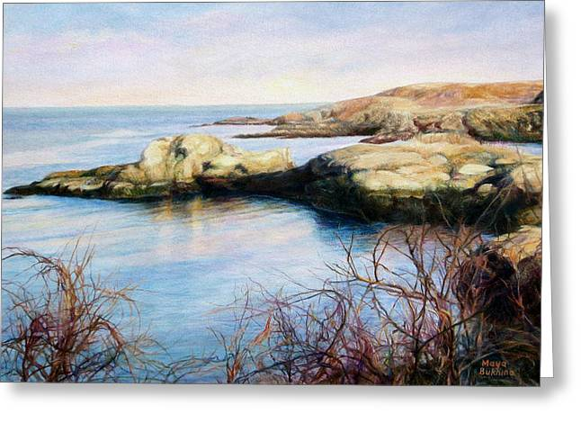On The Beach Greeting Cards -  The rocky shore of the ocean Greeting Card by Maya Bukhina