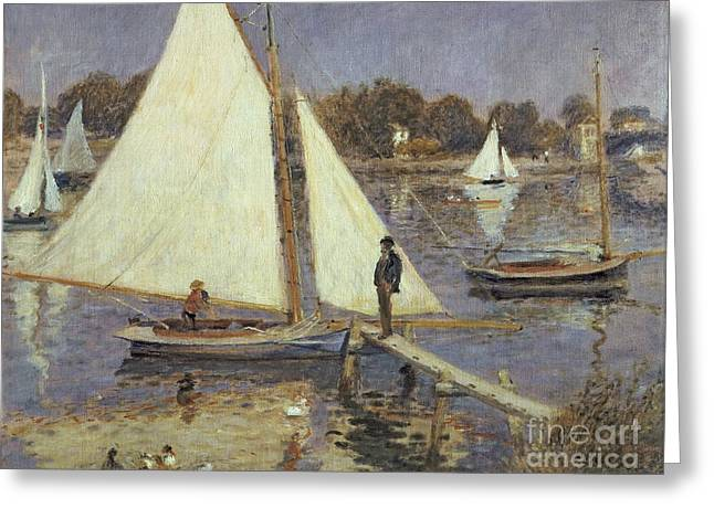 River Boat Greeting Cards -  The Seine at Argenteuil Greeting Card by Pierre Auguste Renoir