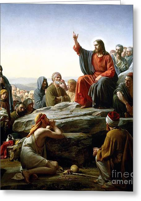 Sermon Carl Bloch Greeting Cards -  The Sermon on the Mount Greeting Card by Carl Heinrich Bloch