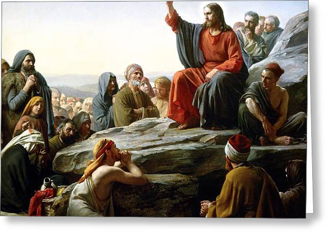 The Sermon On The Mount Greeting Card by Carl Heinrich Bloch