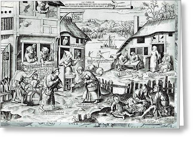 The Seven Deadly Sins Or The Seven Vices Greeting Card by Pieter Bruegel the Elder