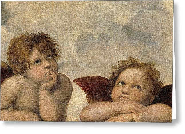 Sistine Paintings Greeting Cards -  The Sistine Madonna . Detail Greeting Card by Celestial Images