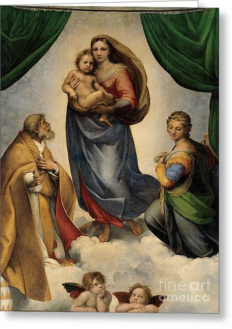 Sistine Paintings Greeting Cards -  The Sistine Madonna Greeting Card by Celestial Images