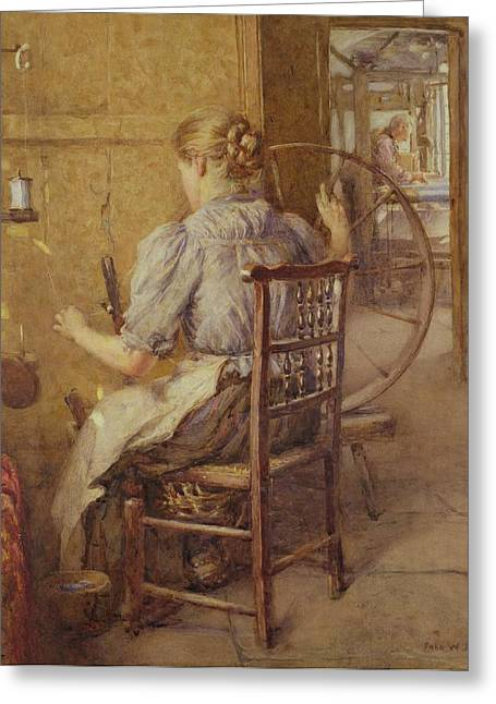 Spool Greeting Cards -  The Spinning Wheel  Greeting Card by Frederick William Jackson