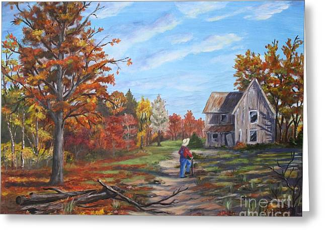 Run Down Paintings Greeting Cards -  The Visitor Greeting Card by Marlene Kinser Bell