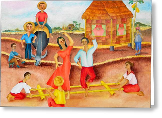 Bamboo House Greeting Cards -  Tinikling Greeting Card by Miriam Besa