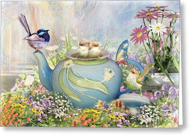 Tea Party Greeting Cards -  Tiny Tea Party Greeting Card by Trudi Simmonds