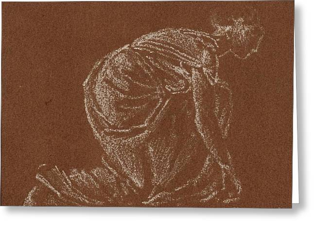 Title Kneeling Woman Greeting Card by Sir Edward Cole