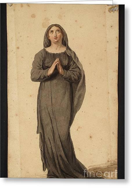 Title Woman Praying Greeting Card by MotionAge Designs