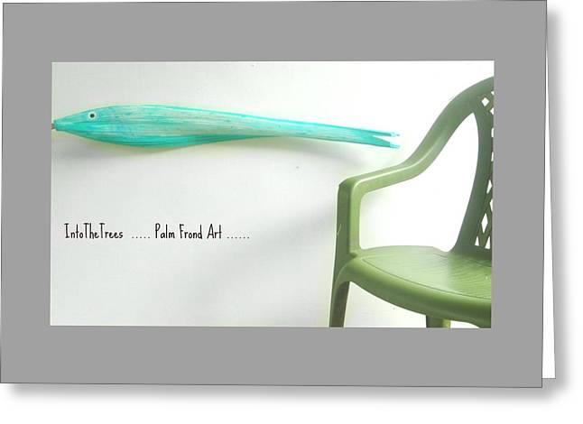 Beach Decor Sculptures Greeting Cards -  Turquiose Fish On Frond Greeting Card by Janet Craig