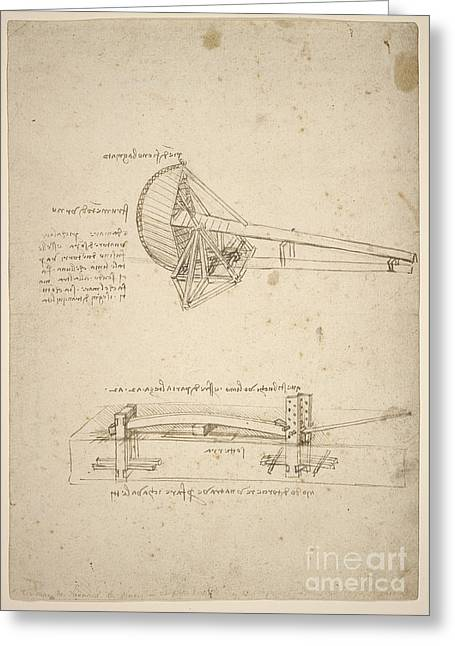 Vinci Leonardo Da 1452-1519 Greeting Cards -  Two Designs for Machines Greeting Card by MotionAge Designs
