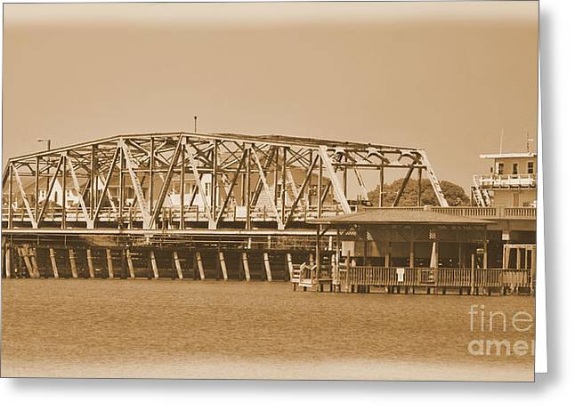 Sailboat Images Greeting Cards -  Vintage Swing Bridge In Sepia 5 Greeting Card by Bob Sample