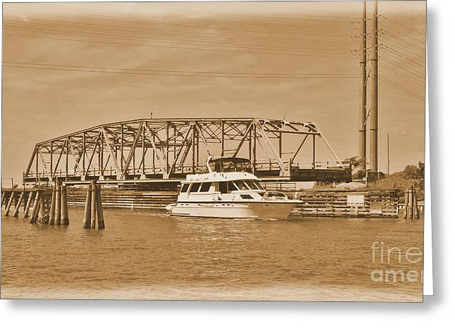 Sailboat Images Greeting Cards -  Vintage Swing Bridge In Sepia 2 Greeting Card by Bob Sample