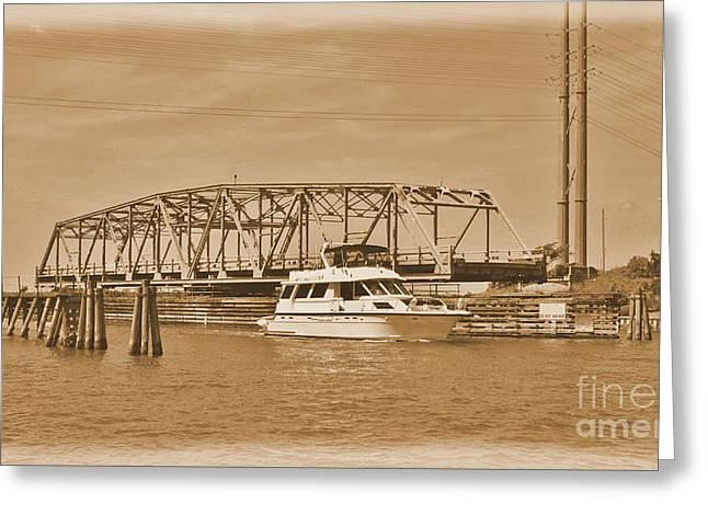 Sailboat Images Greeting Cards -  Vintage Swing Bridge In Sepia 2 Greeting Card by Bob Sample