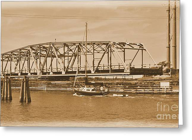 Sailboat Images Greeting Cards -  Vintage Swing Bridge In Sepia 3 Greeting Card by Bob Sample