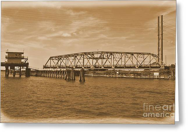 Sailboat Images Greeting Cards -  Vintage Swing Bridge In Sepia 4 Greeting Card by Bob Sample