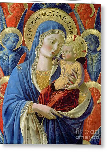 Virgin Mary Greeting Cards -  Virgin and Child with Angels Greeting Card by Benozzo di Lese di Sandro Gozzoli