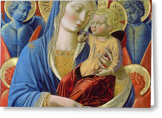 Virgin and Child with Angels Greeting Card by Benozzo di Lese di Sandro Gozzoli