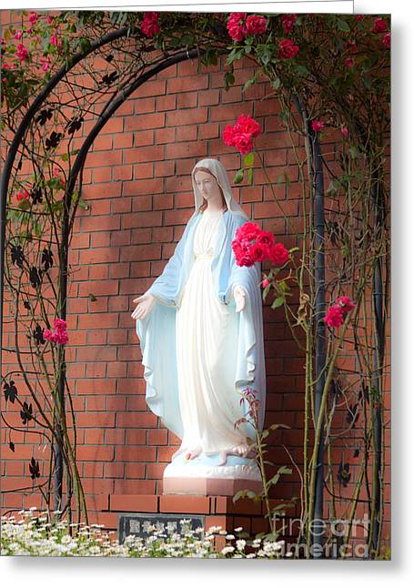 Sculpture Ideas Greeting Cards -  virgin Mary with roses Greeting Card by Aiolos Greek Collections