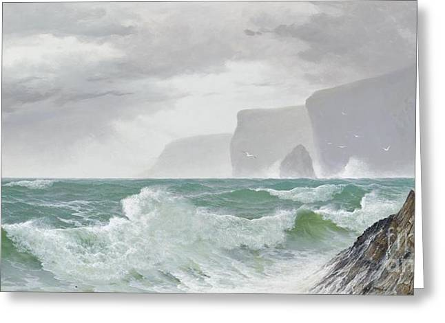 Waves Crashing Onto The Cornish Coast Greeting Card by Celestial Images