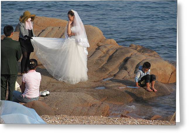 China Beach Greeting Cards -  Wedding photo on the beach Greeting Card by Alfred Ng