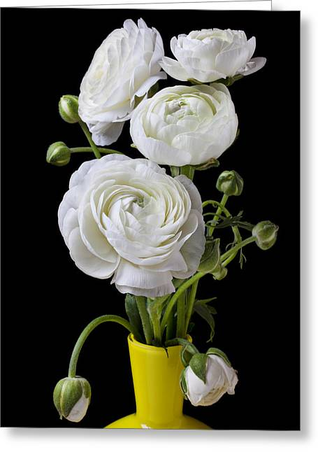 Lifestyle Greeting Cards -   White ranunculus in yellow vase Greeting Card by Garry Gay