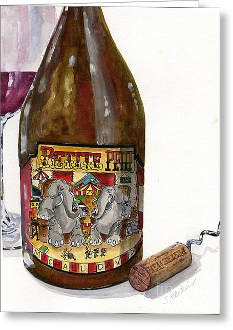 Zinfandel Paintings Greeting Cards -  Wine Bottle  and Cork Still Life Greeting Card by Sheryl Heatherly Hawkins