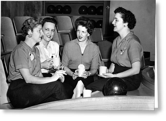 Coffee Drinking Greeting Cards -  Woman Female Drinking Coffee Bowling Alley Circa Greeting Card by Mark Goebel