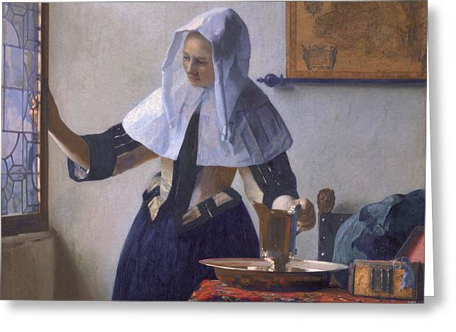 Water Jug Greeting Cards -  Woman With A Water Jug Greeting Card by Johannes Vermeer