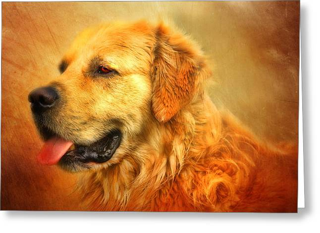 Golden Retriever Digital Greeting Cards -  Wombies Greeting Card by Trudi Simmonds