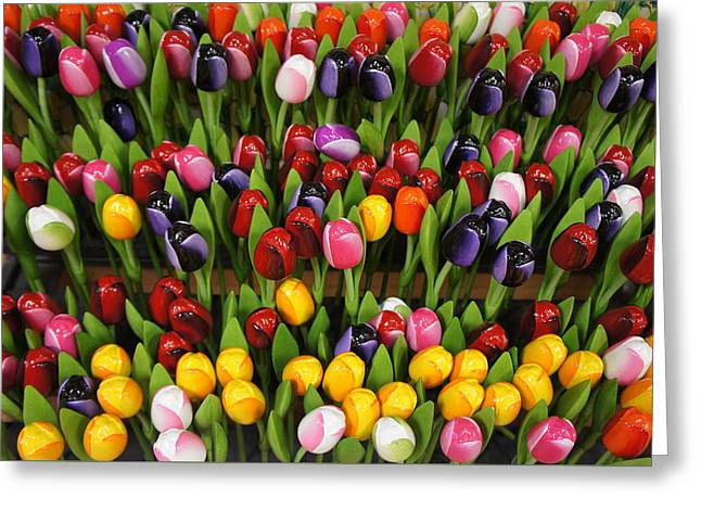 Texting Greeting Cards -  Wooden Colorful Tulips Greeting Card by Sheela Ajith