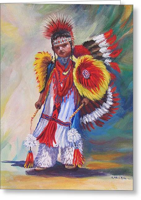 Fancy-dancer Paintings Greeting Cards -  Young Dancer Greeting Card by Victoria Mauldin