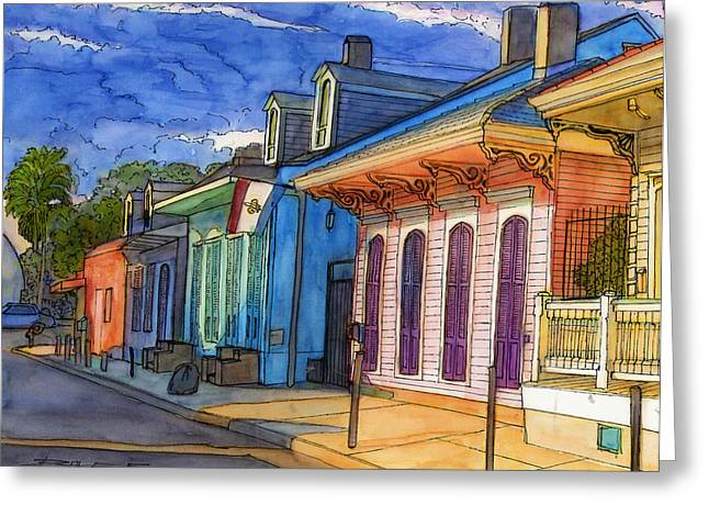 Louisiana Greeting Cards - 0  French Quarter Houses in Pink and Blue Greeting Card by John Boles