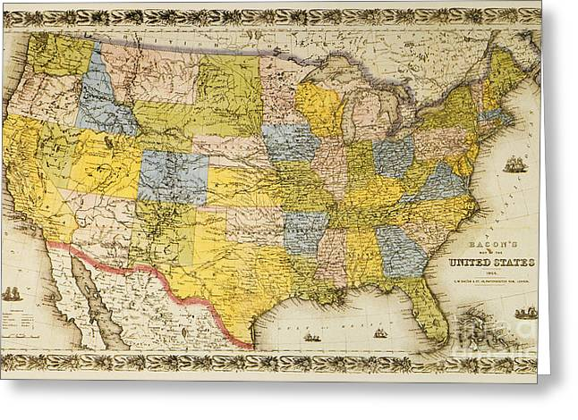 1866 Greeting Cards - United States Map, 1866 Greeting Card by Granger