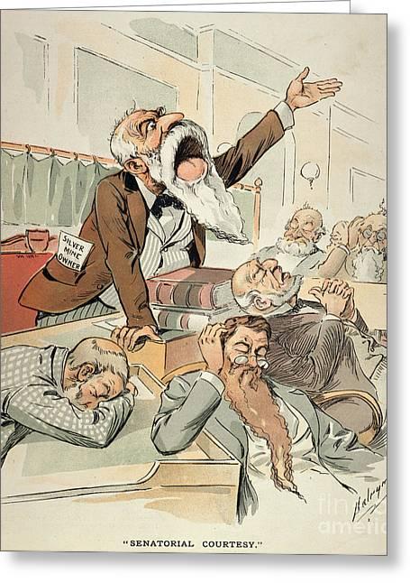 Dalrymple Greeting Cards - Senate Cartoon,free Silver Greeting Card by Granger