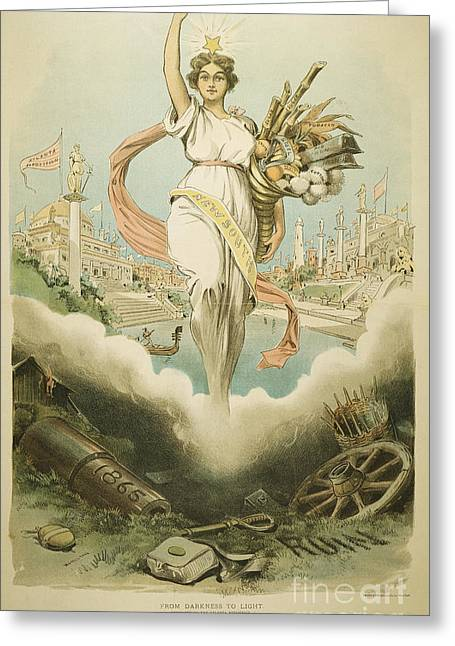 Political Allegory Paintings Greeting Cards - Atlanta Exposition, 1895 Greeting Card by Granger