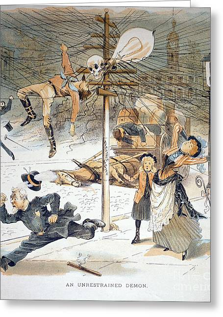 Streetlight Greeting Cards - Electricity Cartoon, 1889 Greeting Card by Granger