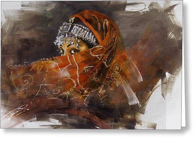 Hijabs Art Greeting Cards - 002 Pakhtun  Greeting Card by Mahnoor Shah