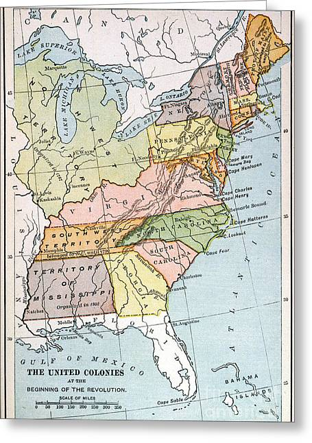 Tennessee River Paintings Greeting Cards - UNITED STATES MAP, c1791 Greeting Card by Granger