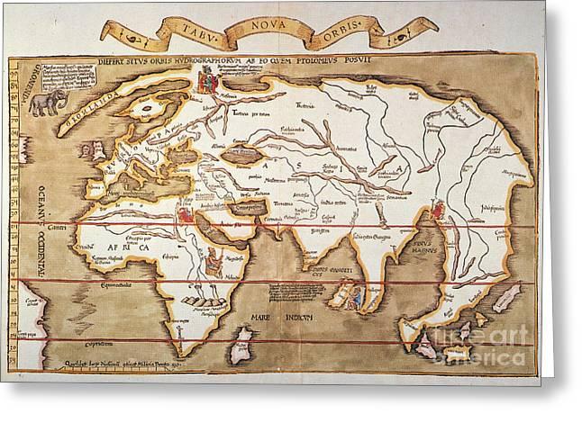 WALDSEEMULLER: WORLD MAP Greeting Card by Granger