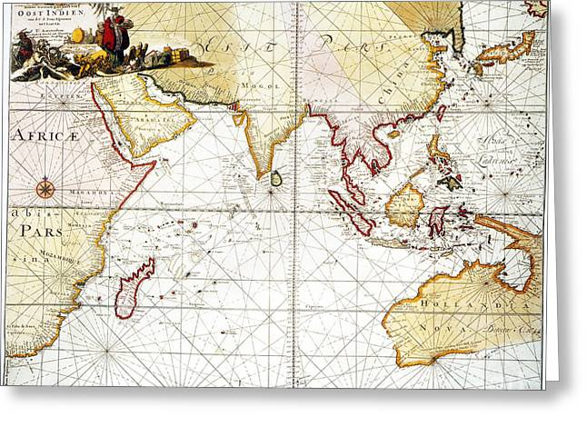 Indian Ocean: Map, 1705 Greeting Card by Granger
