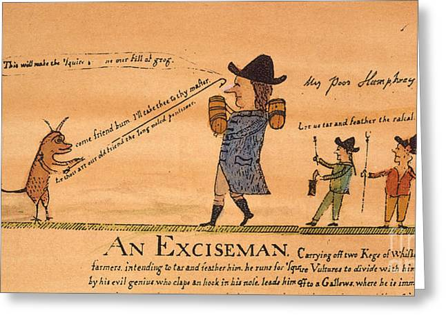 1794 Greeting Cards - Cartoon: Whiskey Tax, 1794 Greeting Card by Granger